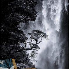 Stylish Nordic art black and white landscape waterfall mural wallpaper