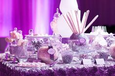 Purple and white wedding candy buffet