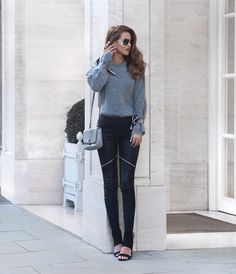 Tie Sleeve Knit Jumper - Topshop ( Here ) Leather Zip Leggings - Silkfred ( Here ) Aviators - Romwe ( Here ) Heeled ...