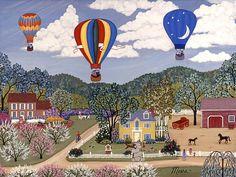 Ballooning by Linda Mears ~ hot air balloons ~ rural life ~ folk art