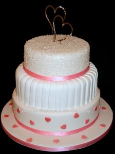 Ruth Wedding Cake with crystal heart topper, sparkly sugar and pink hearts