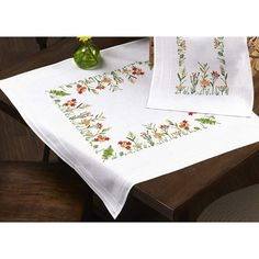 Herrschners® Meadow Walk Table Topper Stamped Embroidery Kit