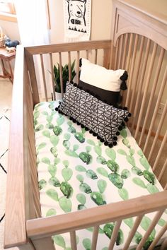 Modern Neutral Nursery Reveal - Wild Littles Watercolor Cactus Crib Sheets