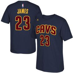 999f848caca Men s LeBron James Cleveland Cavaliers adidas Navy Blue Net Number T-Shirt  Black Adidas
