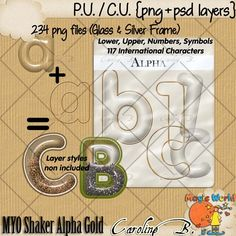 CU Make Your Own Shaker Alpha Gold - $6.99 : Caroline B., My Magic World of Digital Design