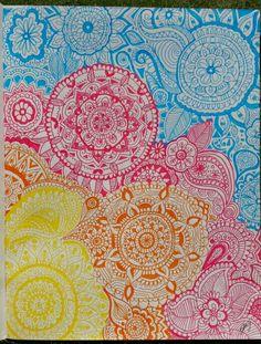 Mandala art   #art #draw #wallpaper #colours #artist #mandala #zentangle #theraputic #pretty #pink #yellow #blue #orange #create