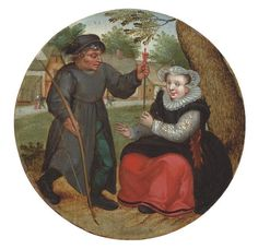 woman rejects man's arow. Sold Christies London on 6th Dec 2011 when attributed to Pieter Bruegel the Younger.