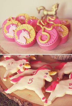 Pink & gold unicorn desserts