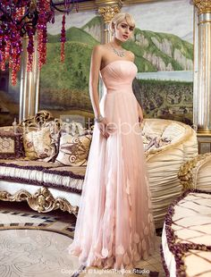 Sheath/Column Strapless Floor-length Tulle Evening/Prom Dress