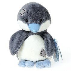 "Tatty Teddy & My Blue Nose Friends Quiver the Emperor Penguin soft toy, sits 4"" tall."