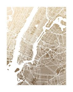 New York City Map Foil-Pressed Art Print by Alex Elko Design | Minted