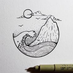 Fabulous Drawing On Creativity Ideas. Captivating Drawing On Creativity Ideas. Puffy Paint, Sketch Inspiration, Sketch Ideas, Tattoo Inspiration, Sketch Art, Drawing Sketches, Drawing Ideas, Drawing Tips, Wave Drawing