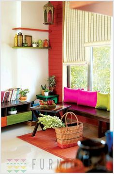 Lovely way to use a window instead of fourth bedroom wall. Great place to read in the day time.