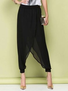 Ladies' Elegant Black Chiffon Loose Harem Pants Women's Summer Ethereal Fashion Baggy Hippie Trousers