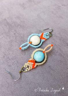 Asymétriques boucles d'oreilles macramé boho hippy chic cailloux écru bleu orange fluo neon bohème style bijoux de créateur France