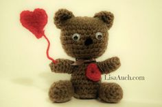 free crochet pattern teddy bear amigurumi Valentines crochet ideas