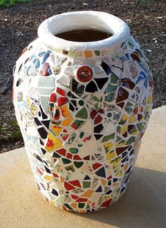 Items similar to Custom Patchwork Confetti Mosaic Garden Vase - Sample Only - Custom Orders Welcome on Etsy Mosaic Planters, Mosaic Garden Art, Mosaic Vase, Mosaic Flower Pots, Mosaic Tiles, Mosaics, Pottery Painting, Ceramic Painting, Ceramic Art
