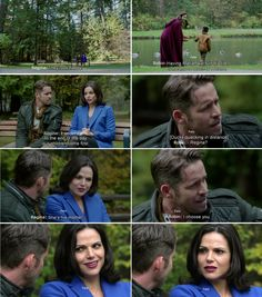 """I understand. At the end of the day, our children come first."", ""Regina? I choose you."" Robin - 4 * 11 ""Heores and Villains"" #OutlawQueen"