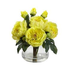 Nearly Natural Peony & Rose with Vase ($85) ❤ liked on Polyvore featuring home, home decor, floral decor, yellow, faux flowers, blossom tree, rose tree, yellow flower tree and artificial flowers