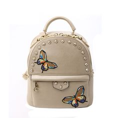 Khaki Patent Leather Rivet Studded Women Travel Backpack Personalized  Embroidered Butterfly Sewing Pattern Small Crossbody Shoulder Bag afd32ad889734