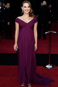 Natalie Portman's pregnancy coincided with a huge milestone in her career: the awards season where she cleaned up for her role as Nina, the emotionally fragile ballerina, in Black Swan. Predictably, her red carpet style was flawless. She wore this elegantly draped Rodarte to the Oscars...