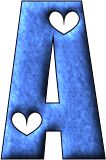 Alfabeto azul con corazones blancos.