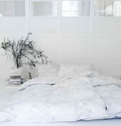 White Minimalistic Bedspread from konfetti bedroom decor, floor, the weekend, white rooms, cloud, white bedrooms, white bedding, bedside tables, bedroom designs