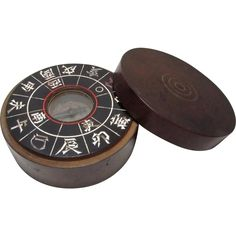 Antique Japanese Hand Held  方位磁針 Hoijishin (Compass) in a Wood Case, Lacquered, Inlaid and Marked from the many faces of Japan on Ruby Lane