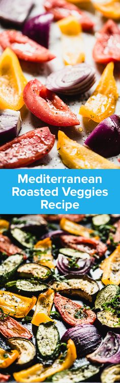 Super easy and flavorful Roasted Mediterranean Veggies will perk up your dinner plate in no time flat. Tomatoes, zucchini, eggplant & more! Get the recipe and watch the cooking show episode now. Greek Vegetables, Roasted Mediterranean Vegetables, Mediterranean Diet Recipes, Mediterranean Dishes, Grilled Vegetables, Dinner Vegetables, Healthy Vegetables, Real Food Recipes, Vegetarian Recipes