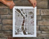 personalized mapcut, 10x10. $75.00, via Etsy.