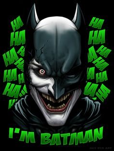 """I'M BATMAN!!! HA-HA-HA!!!"" - Dey Rus Joker Batman, Joker Art, Batman Art, Bat Joker, Joker Pics, Spiderman, Jokers, Batman Universe, Dc Universe"