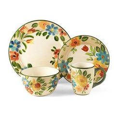 Pfaltzgraff Bright Bouquet Dinnerware Set, 32 Piece, Service for 8 Stoneware Dinner Sets, Dinnerware Sets For 8, Dinnerware Ideas, Serveware, Tableware, Orange Kitchen, Kitchen Dishes, Kitchen Gadgets, Illustrations