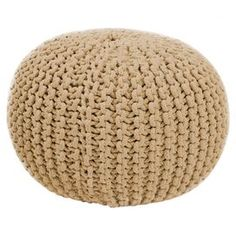 Hand-woven from cotton, this cream pouffe adds texture to your living room or bedroom scheme without adding visual weight to your space. Complement with neutral decor and bare wood furniture for a subtle Nordic look.  Product: PouffeConstruction Material: Cotton and polystyrene fillColour: CreamFeatures: Hand-wovenDimensions: 48 cm H x 38 cm Diameter