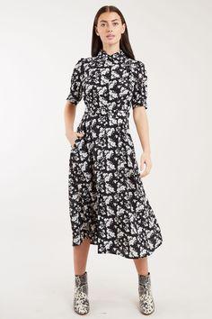Louche Manoe Mono Sprig Print Belted Midi Dress - Joy the Store Joy The Store, Led Dress, Fashion Outfits, Womens Fashion, Diane Von Furstenberg, Black Tops, Wrap Dress, Women Wear, Formal Dresses