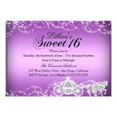 Shop Horse & Carriage Princess Theme Sweet 16 Invite created by Zizzago. Bar Mitzvah Invitations, Bachelorette Party Invitations, Quinceanera Invitations, Wedding Invitation Cards, Birthday Party Invitations, Invite, Quinceanera Party, Princess Sweet 16, Princess Theme