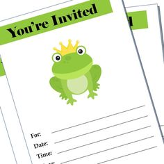 Frog party invitation  blank
