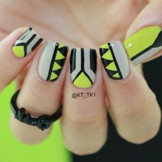 50 Quick Nail Art Ideas for Office Women Tribal Nails, Neon Nails, Love Nails, Diy Nails, Fabulous Nails, Gorgeous Nails, Perfect Nails, Pretty Nails, Ongles Beiges