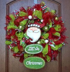 Christmas deco mesh wreath on Etsy, $70.00