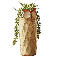 GeLive 9 inchesTall Owl Ceramic Succulent Planter Flower Pot Decorative Vase Garden Cart Pen Holder