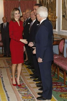 Queen Letizia of Spain greets members of the Board of Directors of National Heritage, during the hearing that took place today at the Palace of El Pardo to members of the Permanent Council and Council of the Greatness of Spain, advisory and consultative body of the Ministry of Justice on issues related titles on December 23, 2014 in Madrid, Spain.