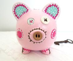 Painted Piggy Bank Personalized Hand Painted by MollieBurd on Etsy, $21.95 Pink Piggy Bank, Pig Bank, Penny Bank, Button Nose, Pig Party, Paper Mache, Hand Stitching, Pottery, Hand Painted