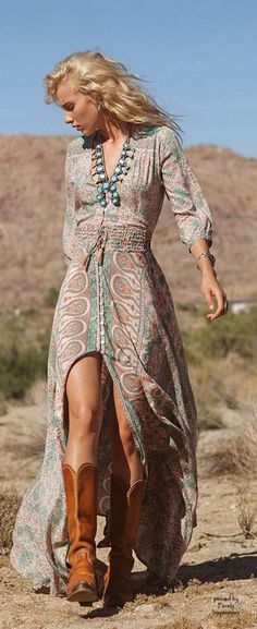 Printed And Front Slit Maxi Dress, Camel Western Boots   Desert Boho