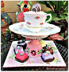 Vintage Pink Floral Teacup Pedestal Stand by GardenWhimsiesByMary, $38.00