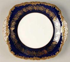 Coalport Hazelton Cobalt Blue Square Handled Cake Plate