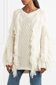 171d5fd5eb44 Sacai - Fringed Cable-knit Wool-blend Sweater - Off-white