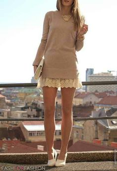 Sweater and skirt combo, love