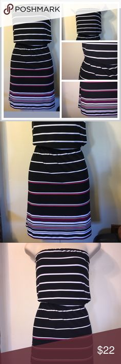 White House Black Market strapless dress. Small This is for a White House Black Market dress black and white and dark pink accent stripes. Super cute dress! White House Black Market Dresses Strapless