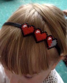 Ribbon Covered Mini Hama Bead Pink Health Bar 8 Bit Pixel Geek Headband