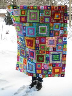 Another pinner wrote: I ❤ quilting . Crayon Box Quilt- I remember seeing a quilt by Kaffe Fassett where the sunlight shines through the fabric to give it a stained glass effect. ~By nancy lou quilts by Vixx Patchwork Quilting, Scrappy Quilts, Scrappy Quilt Patterns, Crazy Patchwork, Crazy Quilting, Quilting Projects, Quilting Designs, Sewing Projects, Quilting Ideas