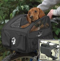 Pet Bike Basket Carrier is designed to easily attach to your bicycle handlebars. Carrier is at home mounted to your bike or used as a backpack or shoulder bag.